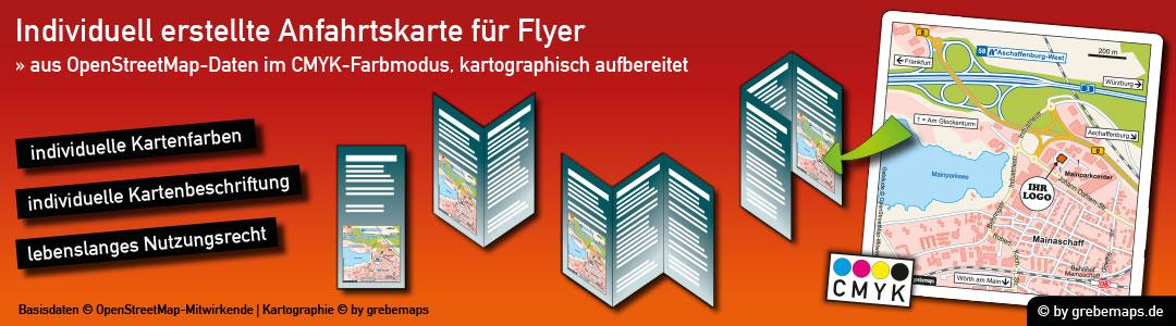 Individuelle Anfahrtsskizze erstellen für Flyer, Anfahrtsskizzen erstellen für Flyer, Anfahrtskizze, Anfahrtsplan, Wegbeschreibung, Lageplan, Straßenkarte, Strassenkarte, Karte erstellen, Print, Druck, Flyer, Prospekt, Broschüre, Web, Homepage, WebSite, Internet, CMYK, Farbmodus, CMYK-Farbmodell, drucken, Karte erstellen aus kostenlosen OpenStreetMap-Daten, Vektor, Illustrator, AI, Datei, erstellen, anfertigen, gestalten